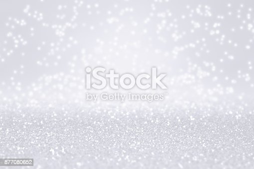 istock Silver White Glitter Snow Background for Winter or Christmas Sparkle 877080652