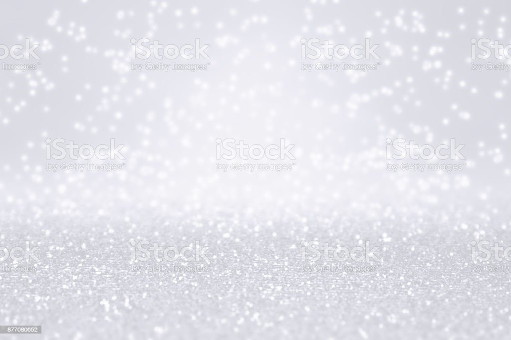 Silver White Glitter Snow Background for Winter or Christmas Sparkle stock photo