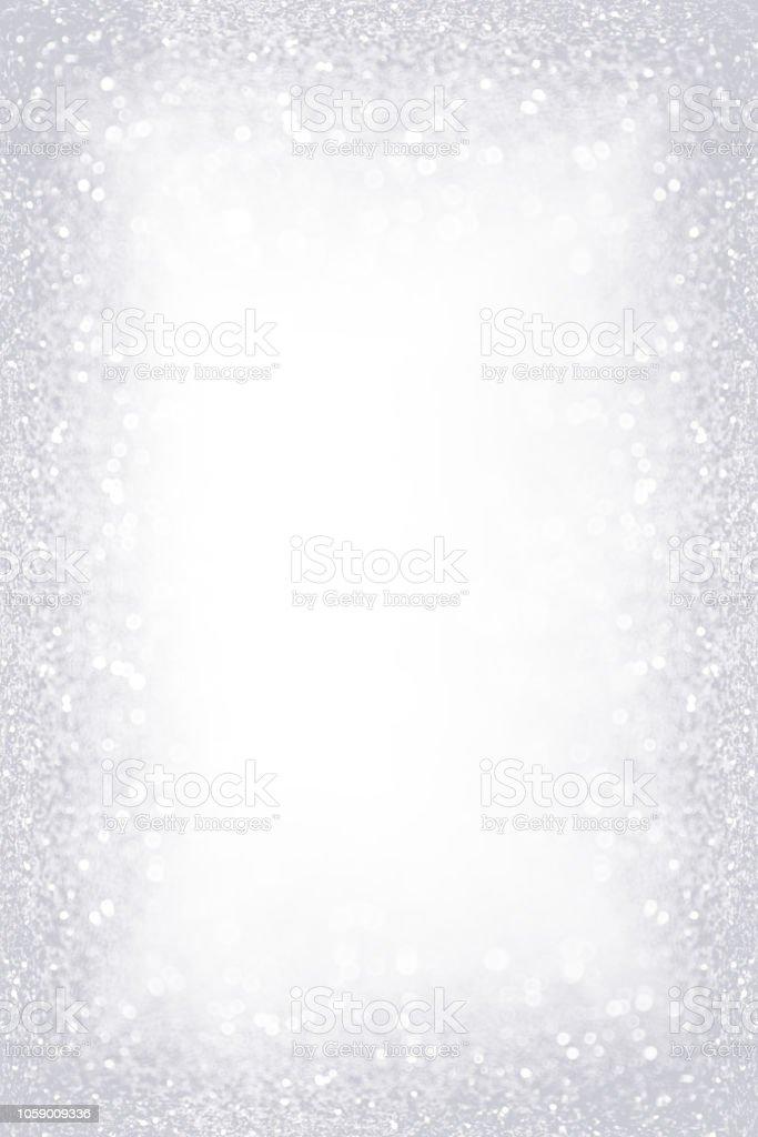 Silver White Glitter Sparkle Border Frame stock photo