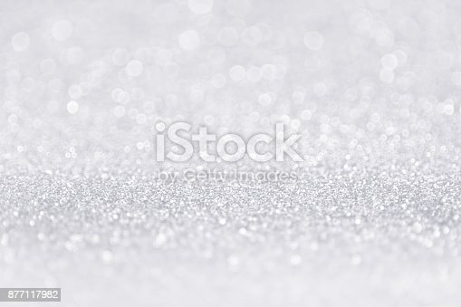 istock Silver White Glitter Sparkle Sequin Background 877117982