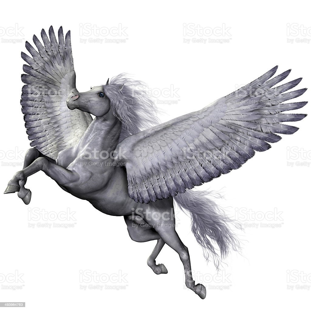 Silver Winged Pegasus stock photo