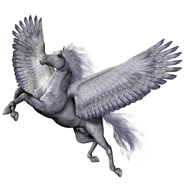 Silver Winged Pegasus stock photo