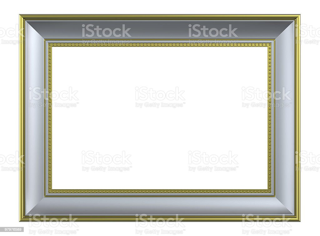 Silver with gold frame on white royalty-free stock photo