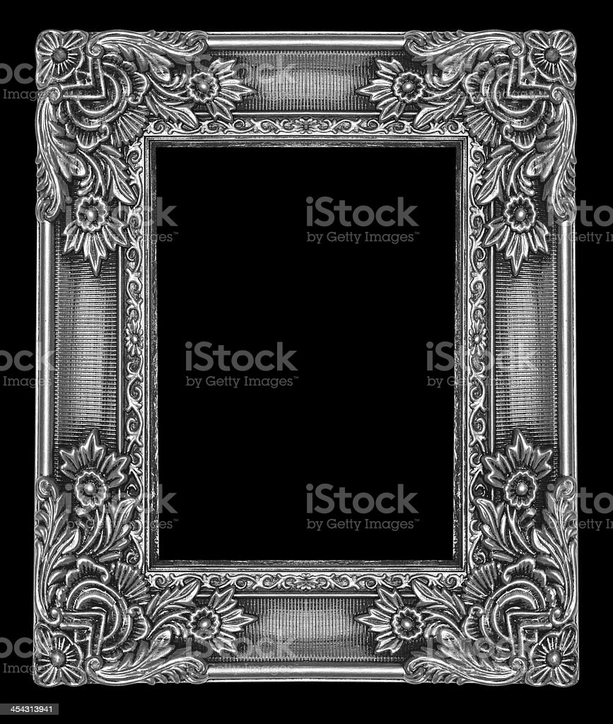Silver wooden picture frame isolated on background royalty-free stock photo