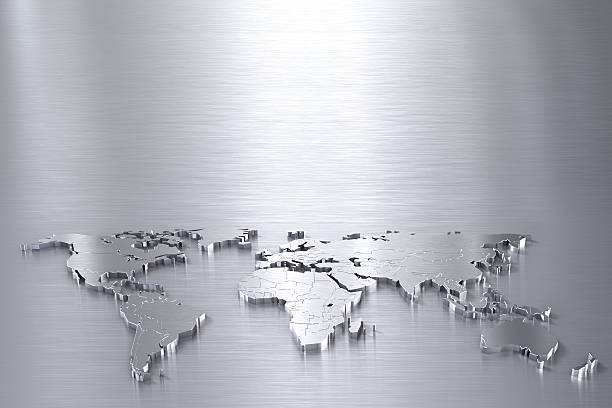 Silver world map on stainless steel surface with copy space stock photo