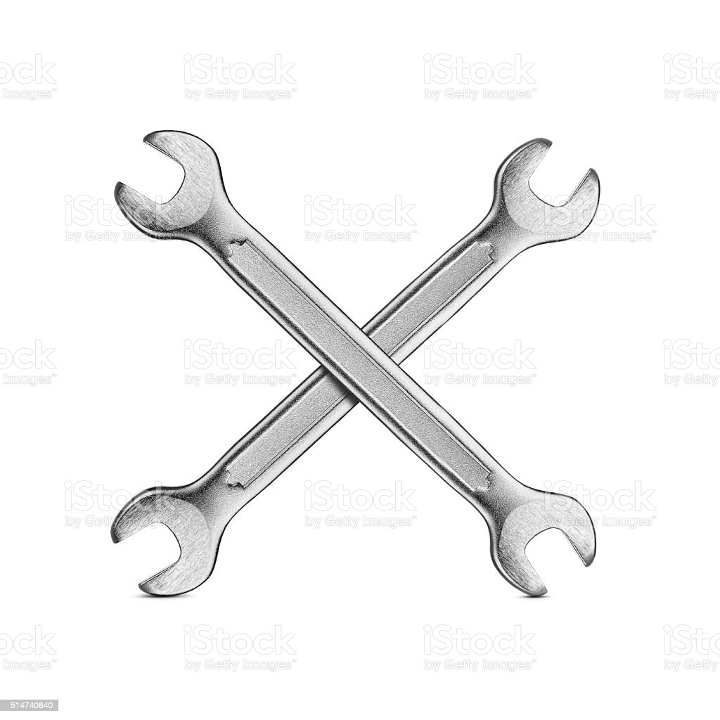 Silver wrenches stock photo
