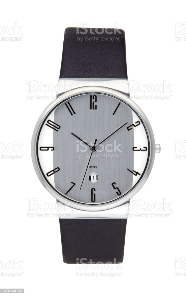 Silver wrist watch isolated on white background stock photo