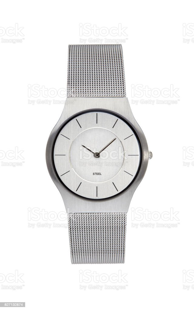 Silver wrist watch isolated on white stock photo