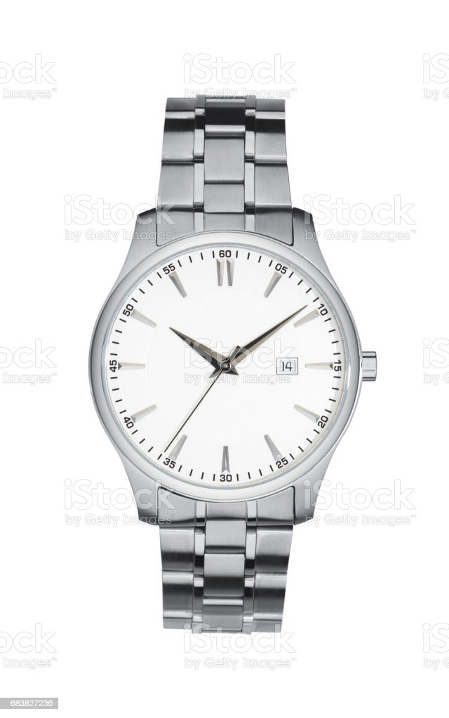 Silver wrist watch isolated white with clipping path stock photo