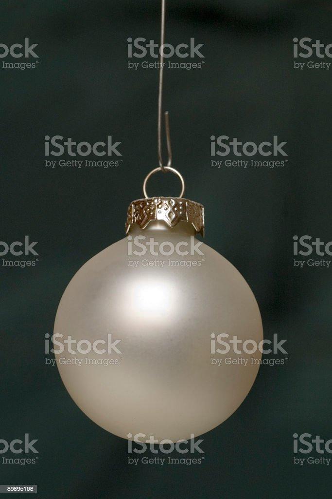 Silver Xmas Ball on Green royalty-free stock photo