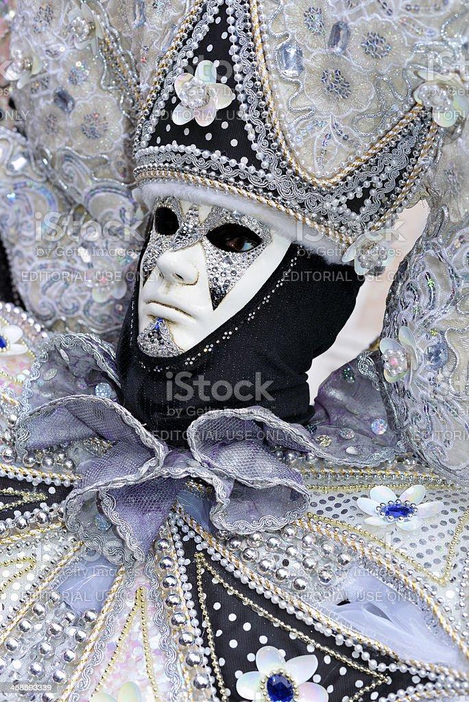 Silver-Black Creative Mask in San Zacharias Square Venice 2013 royalty-free stock photo