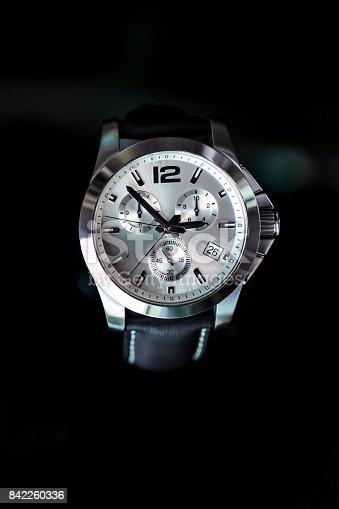 Wristwatch, watch, clock, silver colored, black background,
