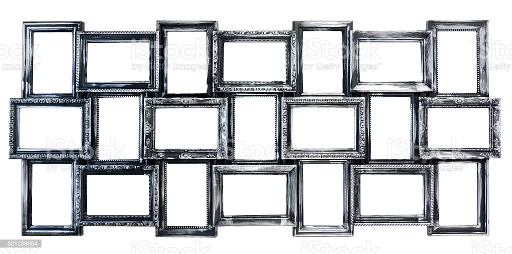 Silvered decorative photo frame stock photo