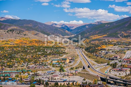 Silverthorne and Dillon Cities in Colorado. Cities Panorama with I-70 Interstate Highway in the Middle. Early Fall Time.