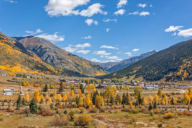Silverton Colorado in Fall a fall scenic of Silverton Colorado along the Animas river animas river stock pictures, royalty-free photos & images