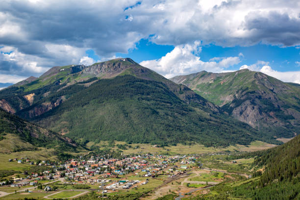 Silverton Colorado In Summer Located in the heart of Colorado's San Juan Mountains, Silverton bustles with activities in the summer including hiking, camping, jeeping, dirt biking, and other outdoor activities. san juan county colorado stock pictures, royalty-free photos & images