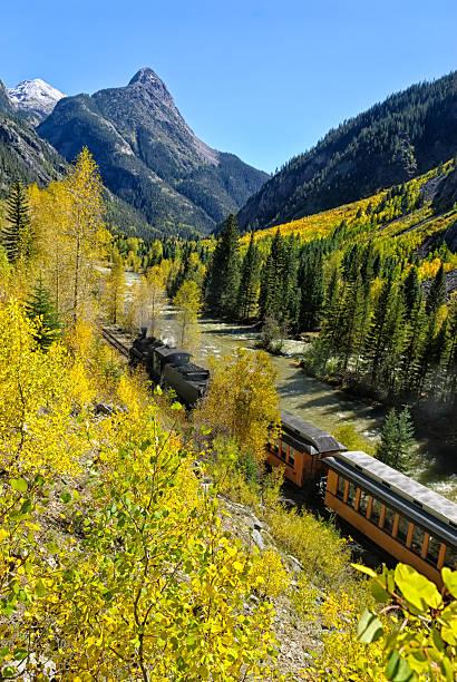 Silverton Durango Railroad Silverton Durango Railroad.  Scenic area along the Animas RIver with narrow-gauge train in steep rugged mountain canyon.  Scenic route with autumn fall colors and sunny blue-sky day.  Captured as a 14-bit Raw file. Edited in ProPhoto RGB color space. animas river stock pictures, royalty-free photos & images