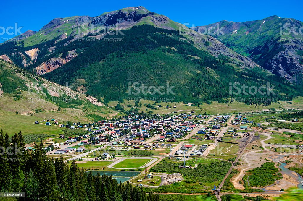 Silverton The Country Western Town of Colorado surrounded by Mountains stock photo