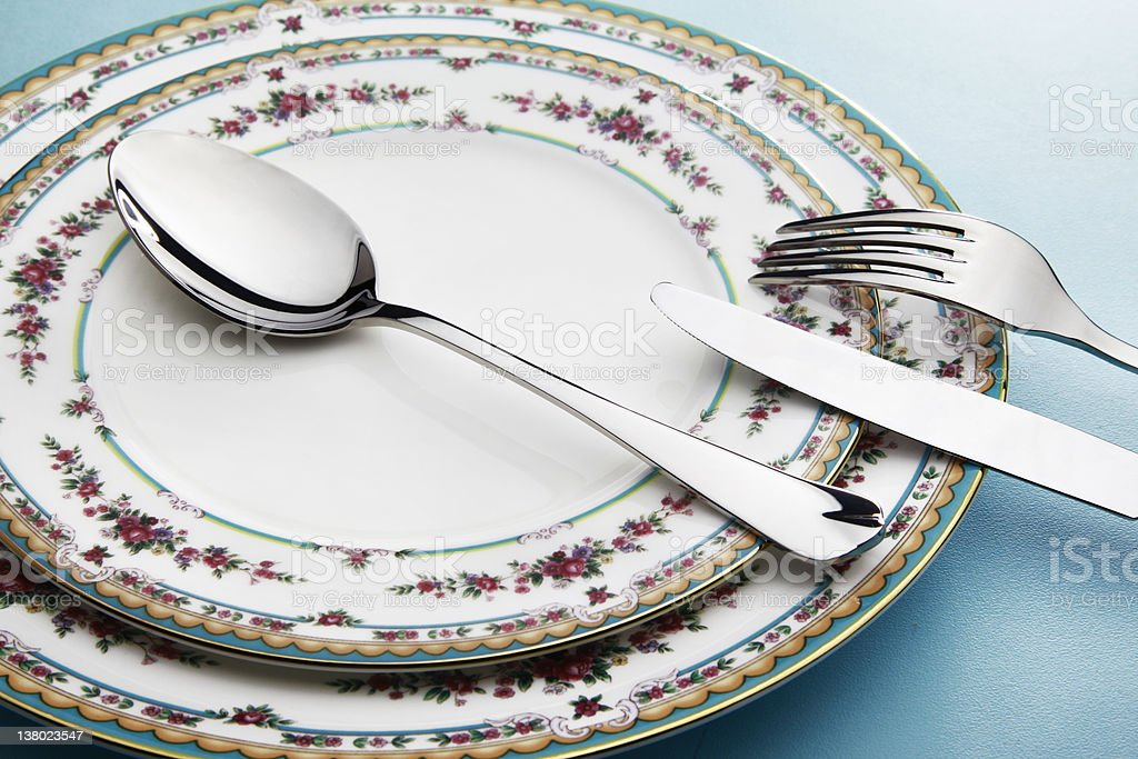 Silverware And Plate royalty-free stock photo