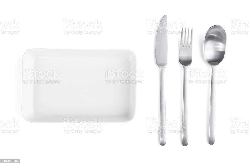 Silverware and Plate stock photo
