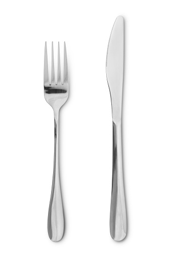 Silverware - fork and knife isolated on white (excluding the shadow)