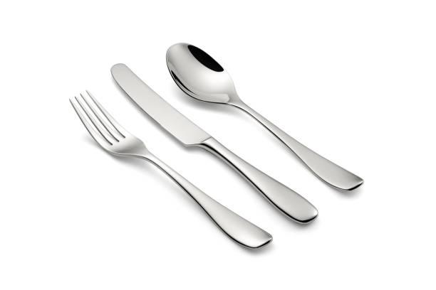 silverbestick set med en kniv, en gaffel och en sked - bordskniv bildbanksfoton och bilder