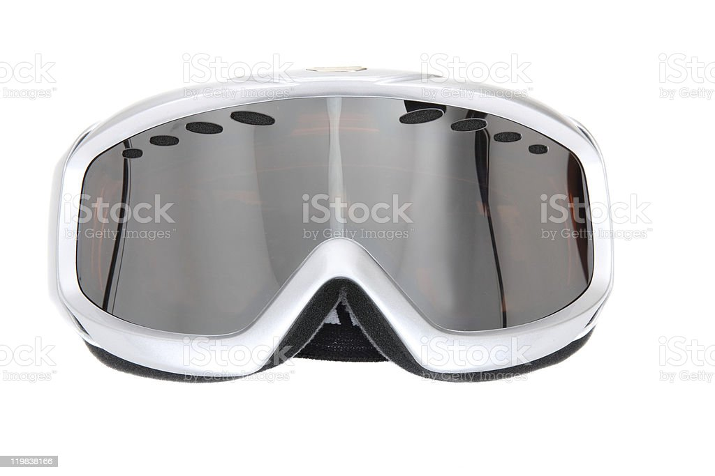 Silvery white ski goggles on white background stock photo