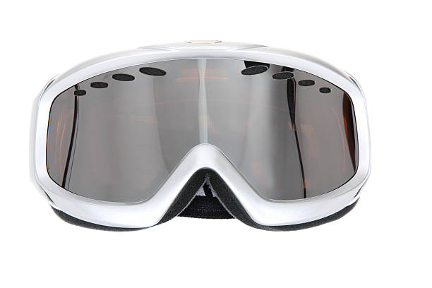 Silvery white ski goggles on white background  Winter sport glasses, Isolated on white background ski goggles stock pictures, royalty-free photos & images
