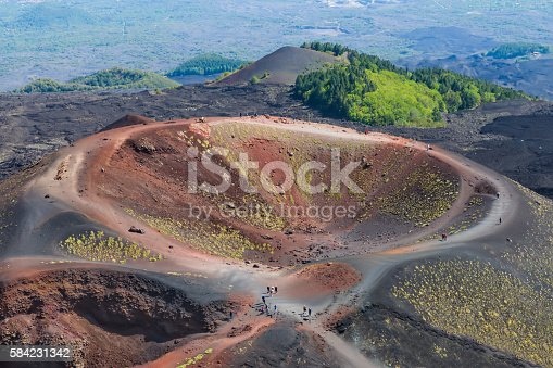 Aerial view of Silvestri crater at the slopes of Mount Etna at Sicily, Italy