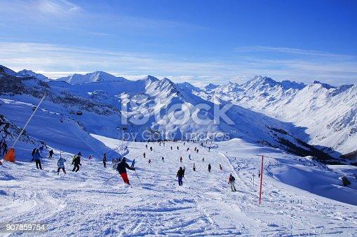 istock Silvretta Ischgl Samnaun Ski resort and mountain range 907859754