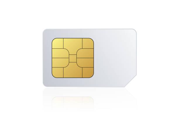 Sim Card On White Background stock photo
