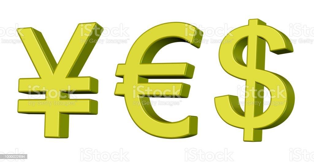 Simbols Of Yen Euro And Us Dollar Saying Yes Stock Photo More