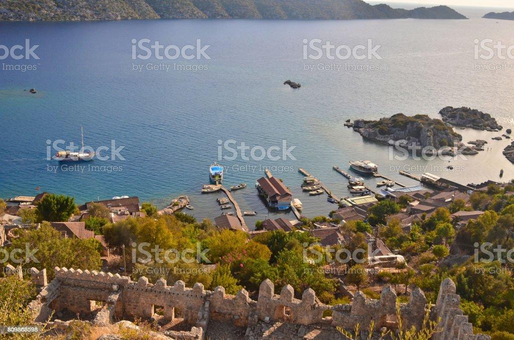 Simena, Kaleköy, Üçağız, Antalya, Türkiye stok fotoğrafı
