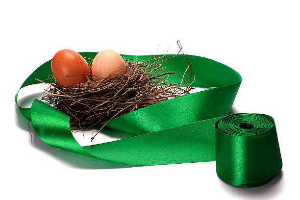 Simgera of eggs in the nests and green ribbons stock photo