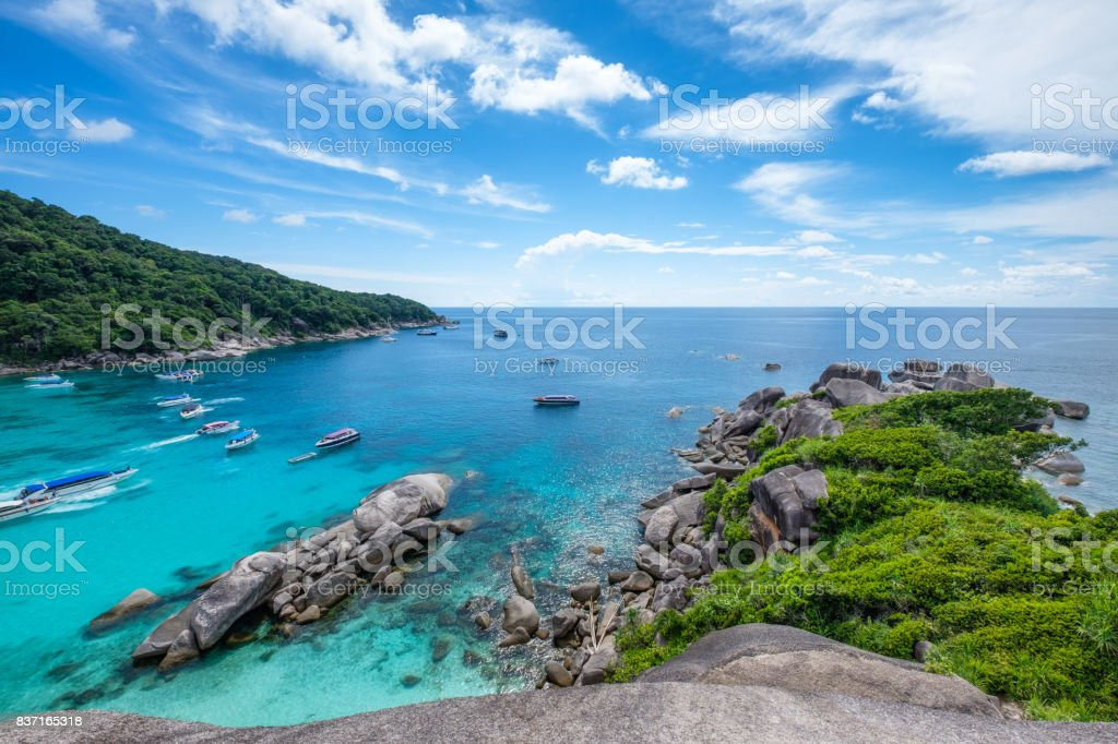 Similan bay sailing rock island in andaman sea stock photo