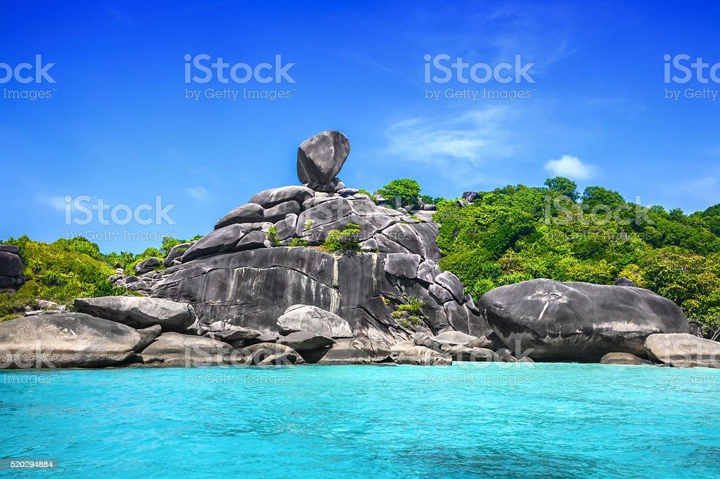 Similan rock island stock photo