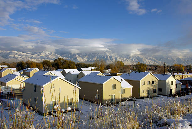 similar winter houses - mikefahl stock pictures, royalty-free photos & images