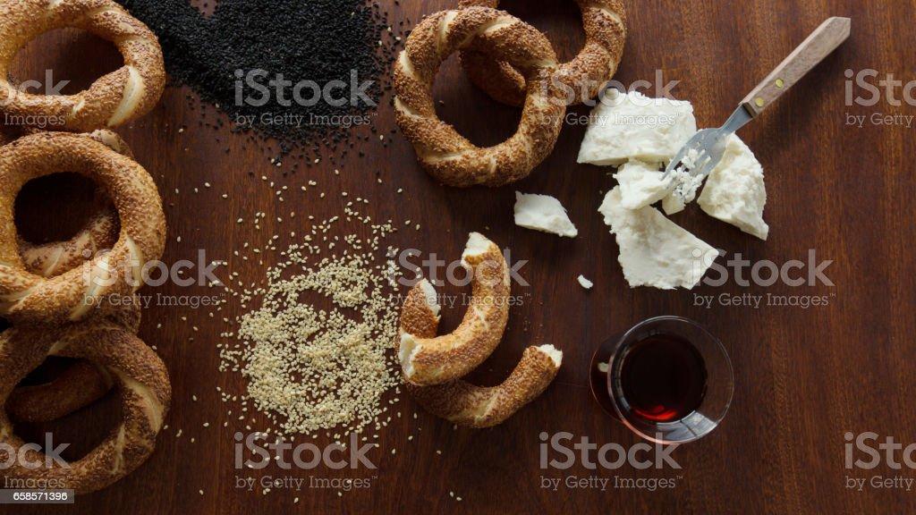 Simit, Sesame, tea, cheese stock photo