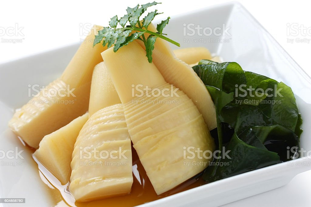 simmered young bamboo shoots, japanese cuisine stock photo