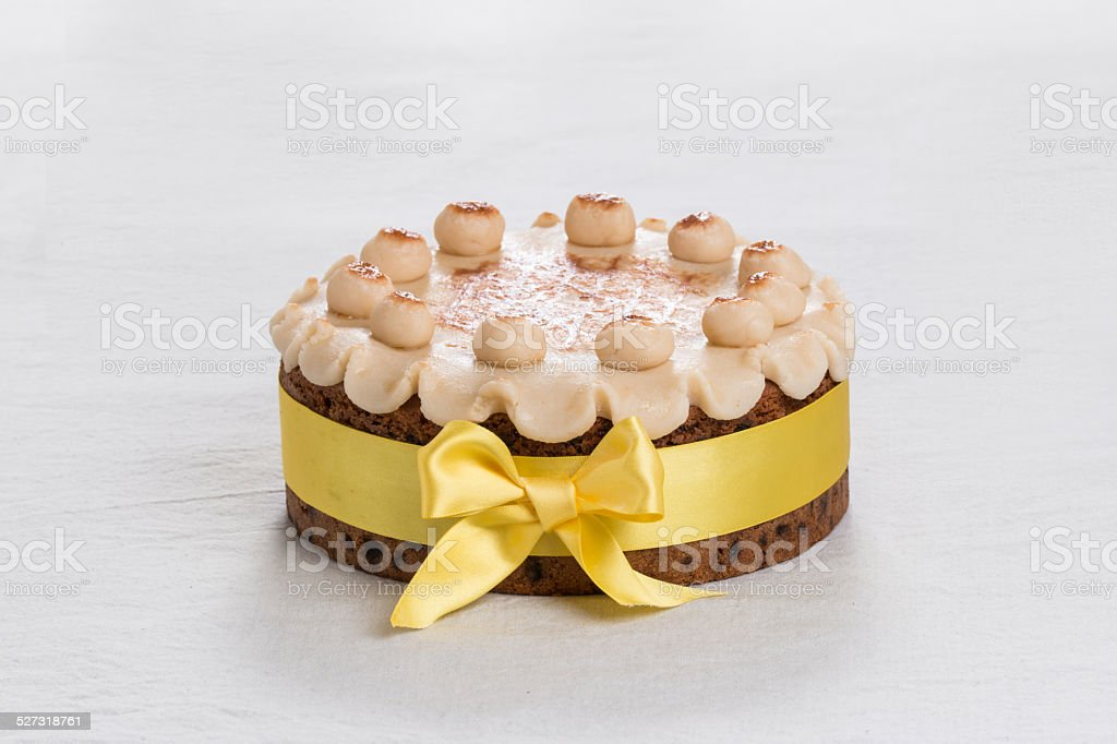 Simnel cake  with marzipan on the top, stock photo