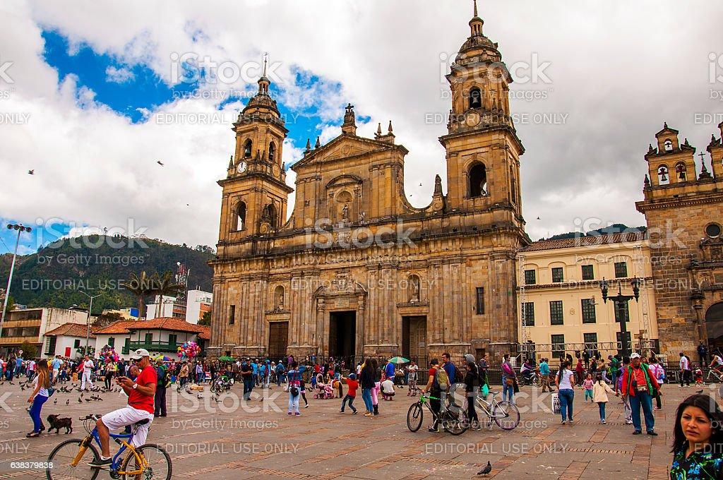 Simon Bolivar Square in Bogota, Colombia stock photo