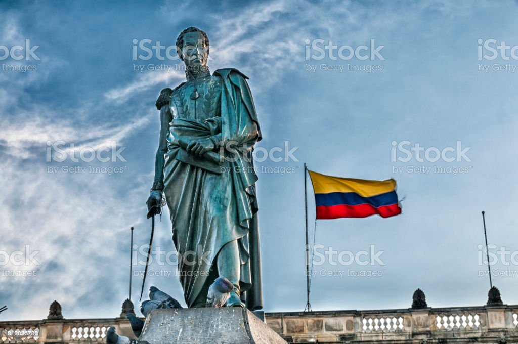 Simon Bolivar Statue and Colombian Flag stock photo