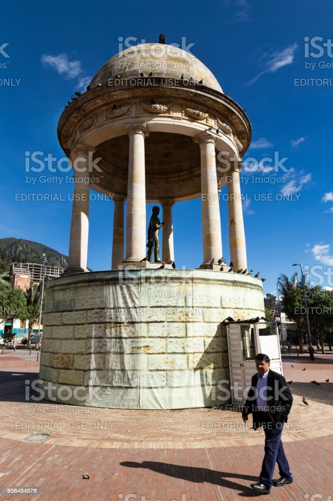 Simon Bolivar statue in the Parque de Los Periodistas stock photo