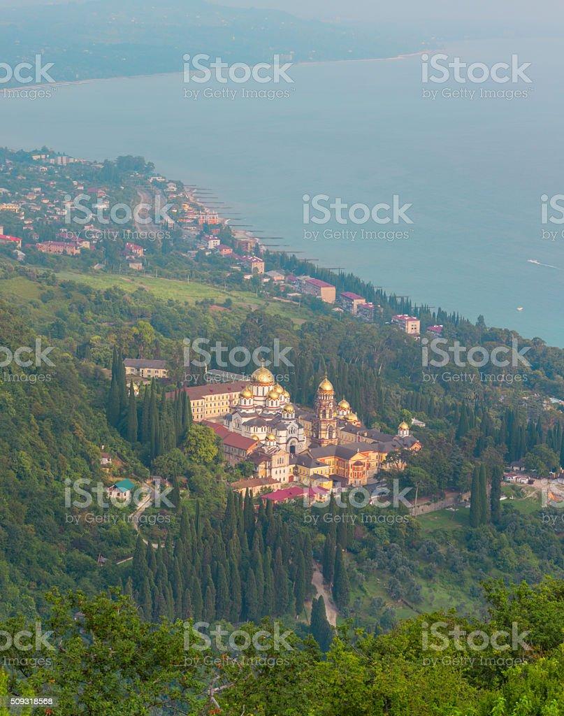Simon the Zealot monastery at New Athos, Abkhazia stock photo