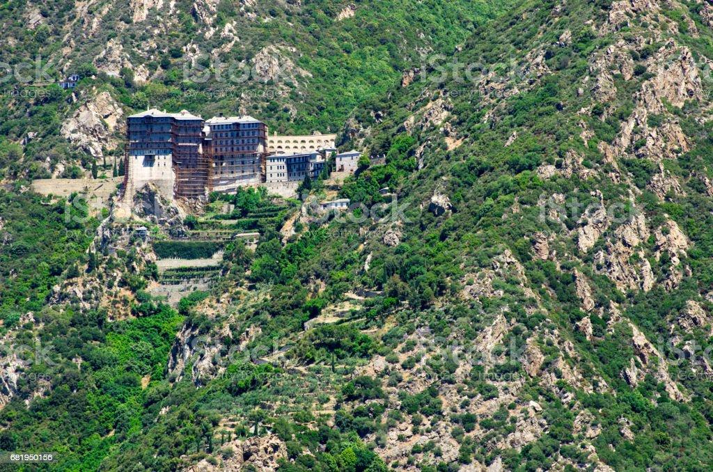 Simonopetra Monastery, Athos Peninsula, Mount Athos, Chalkidiki, Greece stock photo