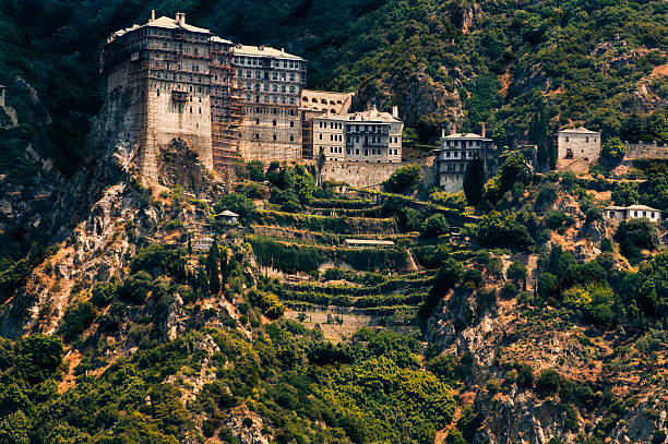 Simonos Petra monastery, Mt. Athos, Greece stock photo