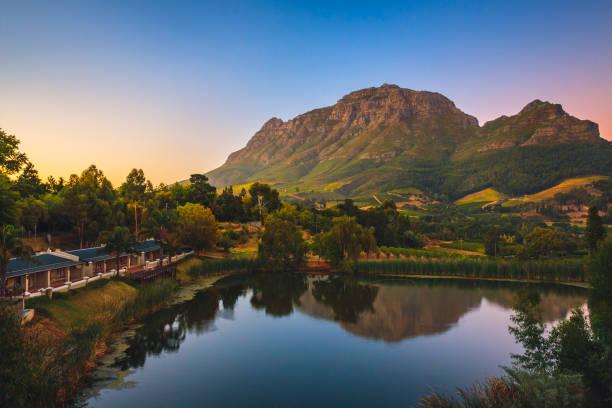 Simonsberg mountain near Stellenbosch in South Africa. stock photo