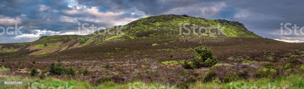 Simonside and Old Stell Crag Panorama stock photo