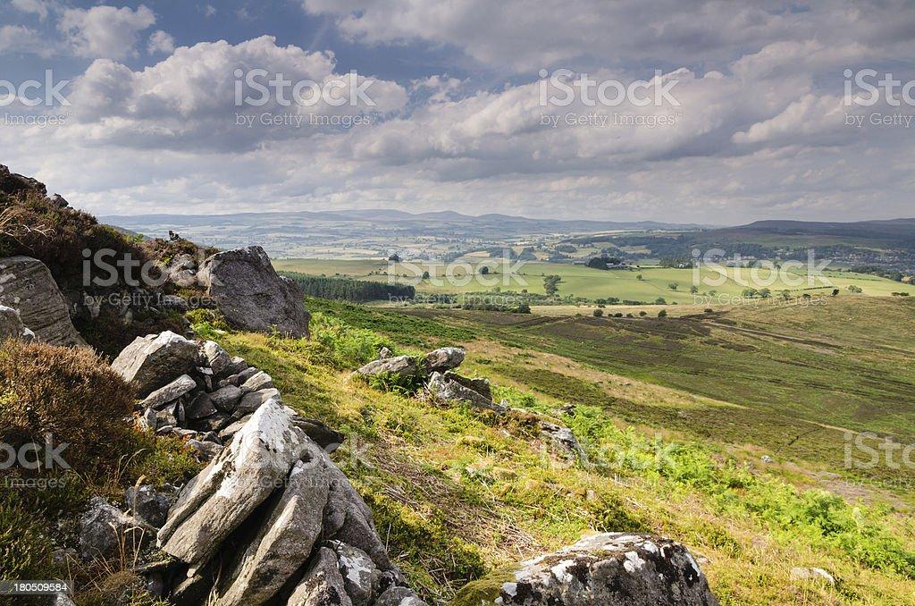 Simonside Hill crags stock photo