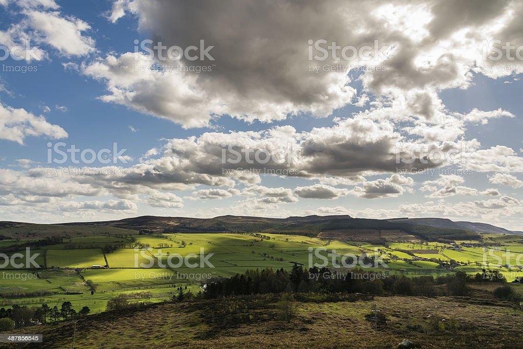 Simonside Hills from Rothbury Terraces stock photo